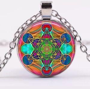 Jewelry - Orange Geometric Mandela Silver and Glass Necklace